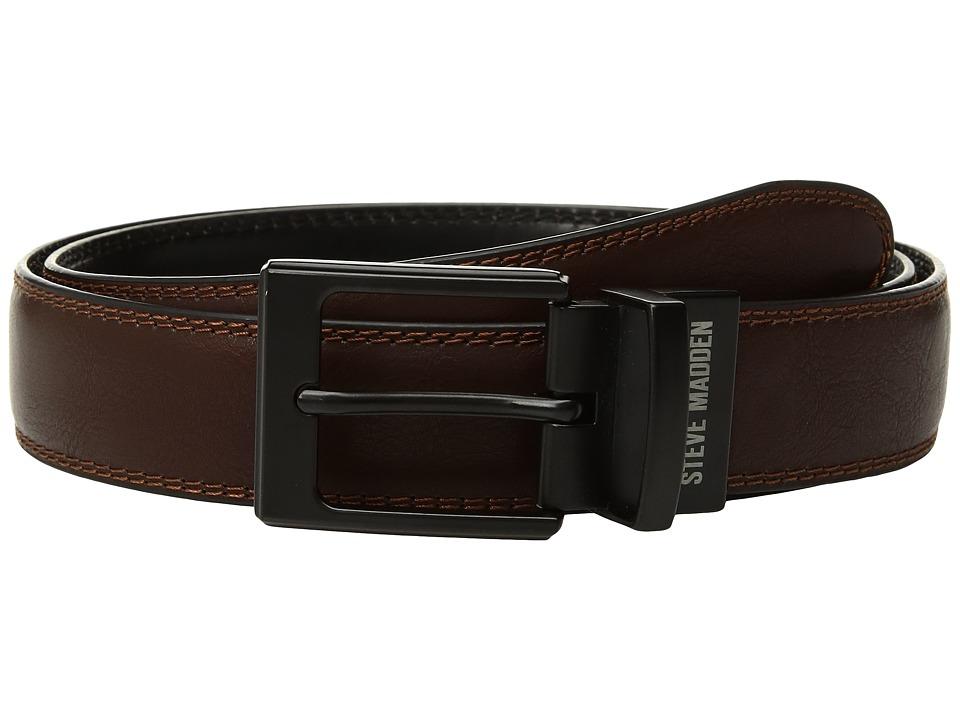 Steve Madden - 35mm Smooth Dress Reversible Belt (Brown/Black) Men's Belts
