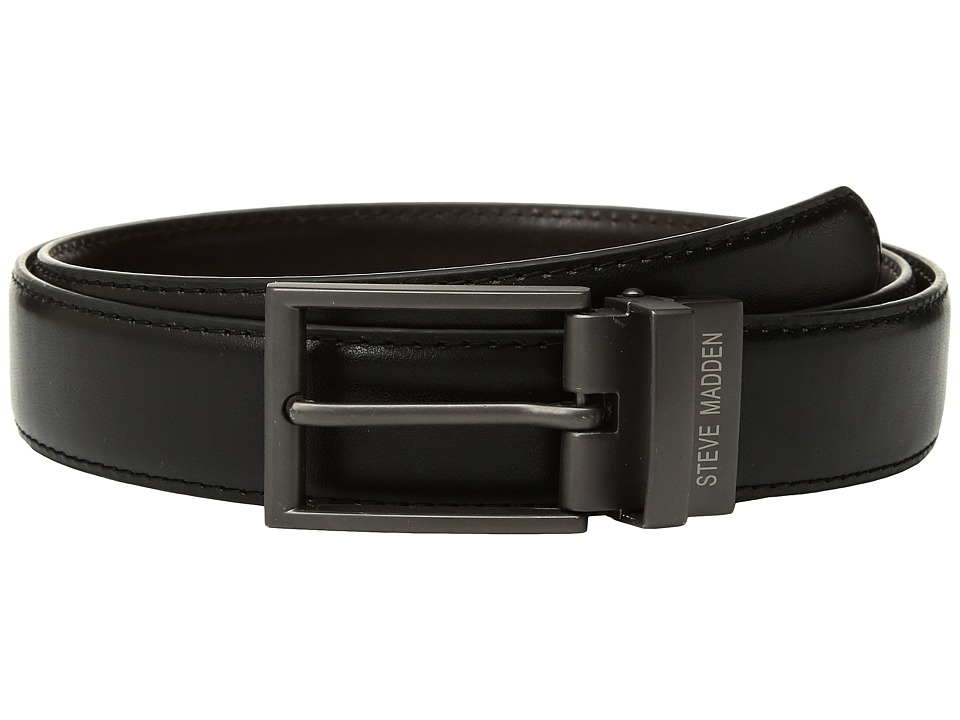 Steve Madden - 32mm Smooth Reversible Belt (Black/Brown) Men's Belts