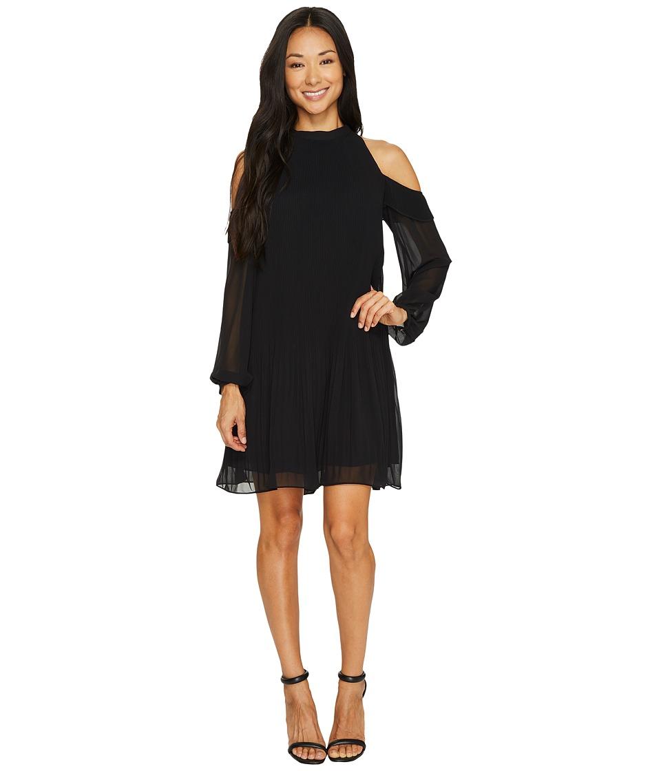 CeCe Noelle Cold Shoulder Pleated Rich Black Dress