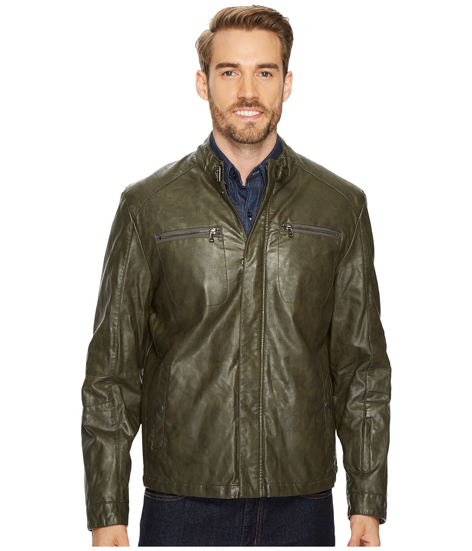 Kenneth Cole New York - PU Jacket with Tab Collar Detail (Seaweed) Men's Coat