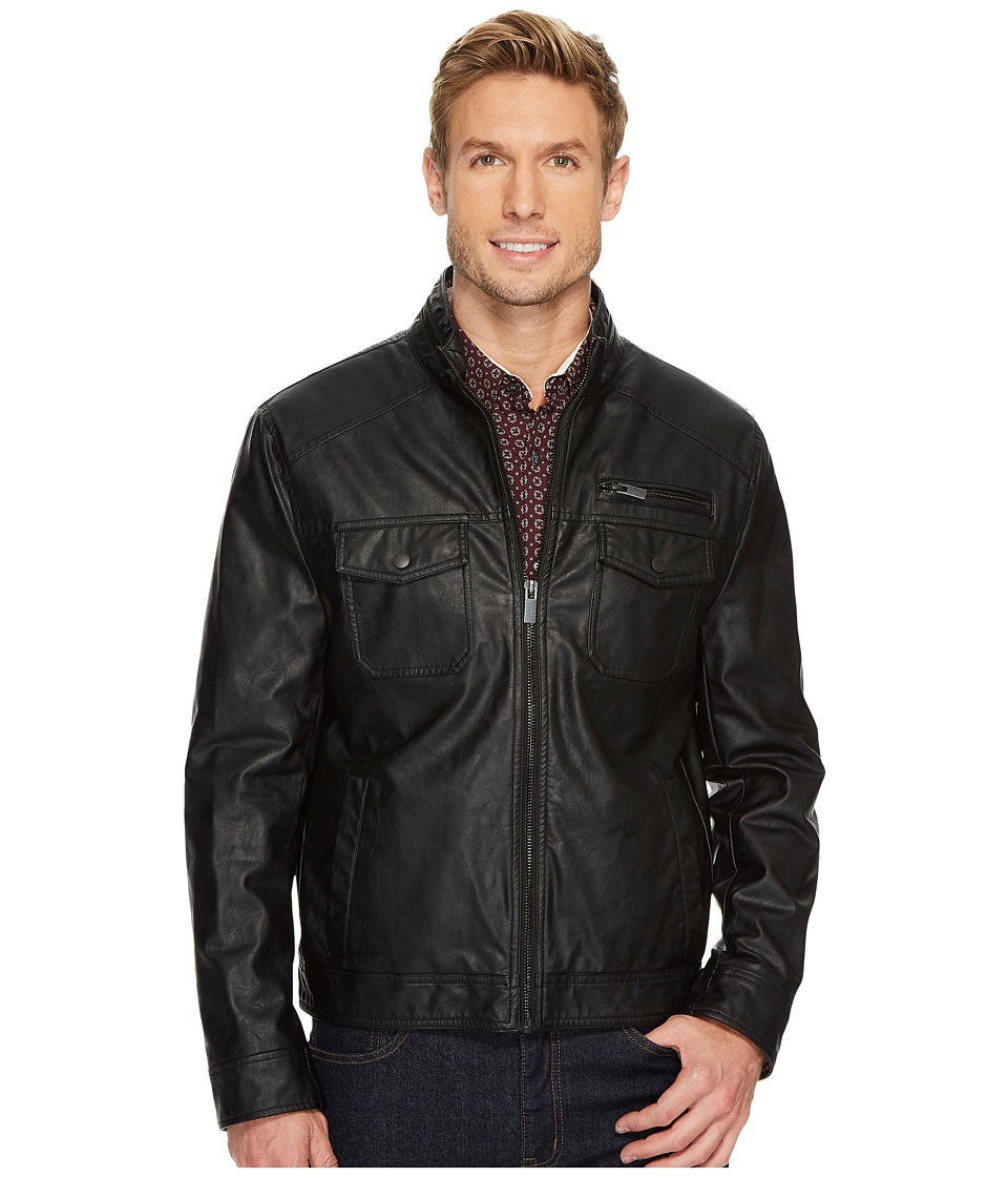 Kenneth Cole New York - Zip Front PU Jacket with Zipper Stand Collar Detail (Black) Men's Coat