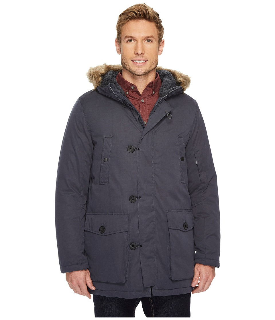 Kenneth Cole New York - Poly Cotton Parka with Faux Sherpa Trim and Faux Fur Hood (Slate) Men's Coat