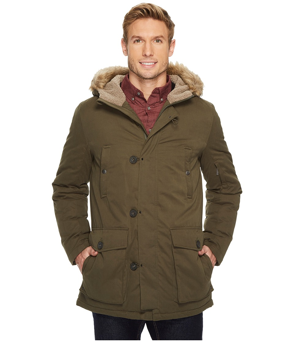 Kenneth Cole New York - Poly Cotton Parka with Faux Sherpa Trim and Faux Fur Hood (Olive) Men's Coat