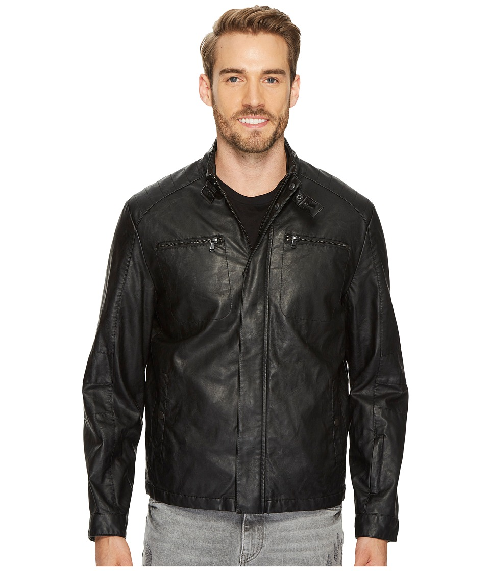 Kenneth Cole New York - PU Jacket with Tab Collar Detail (Black) Men's Coat