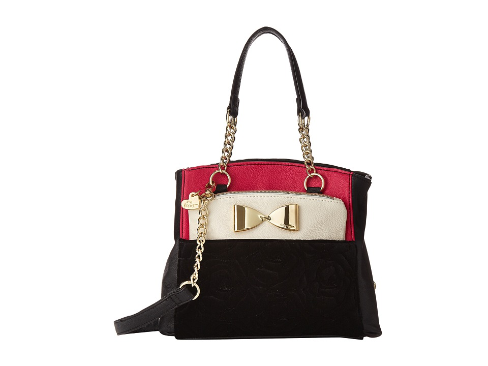 Betsey Johnson - Medium Shopper (Black/Fuchsia) Tote Handbags
