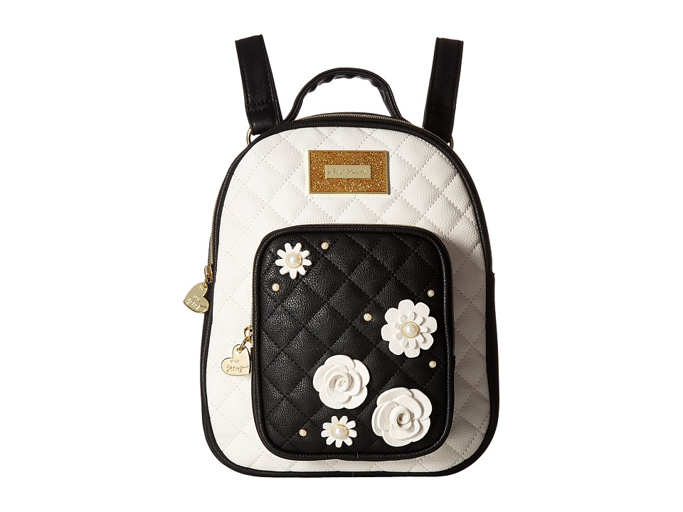 Betsey Johnson - Quilted Winged Heart Backpack (Cream/Black) Backpack Bags
