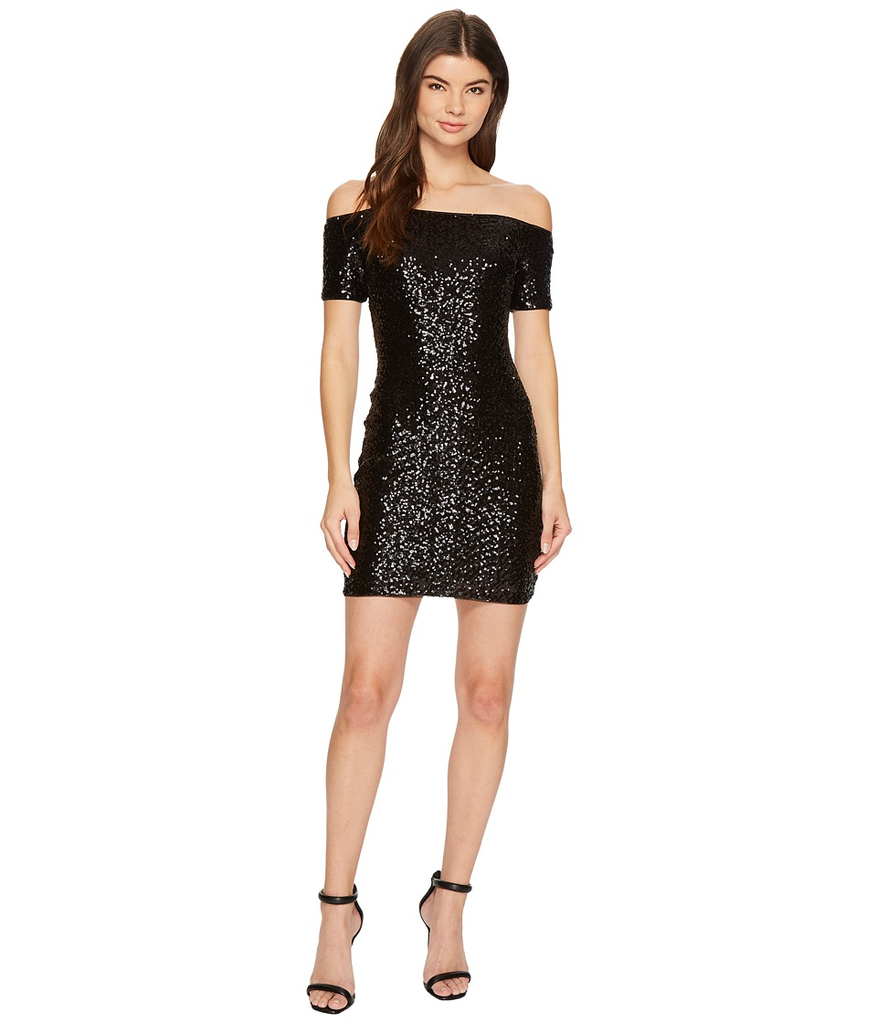 Aidan Mattox Off the Shoulder Sequin Dress