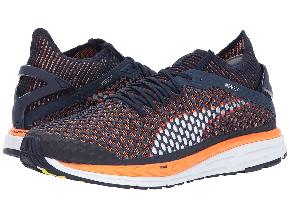 PUMA - Speed Ignite Netfit (Peacoat/Orange Clown Fish/Puma White) Men's Shoes