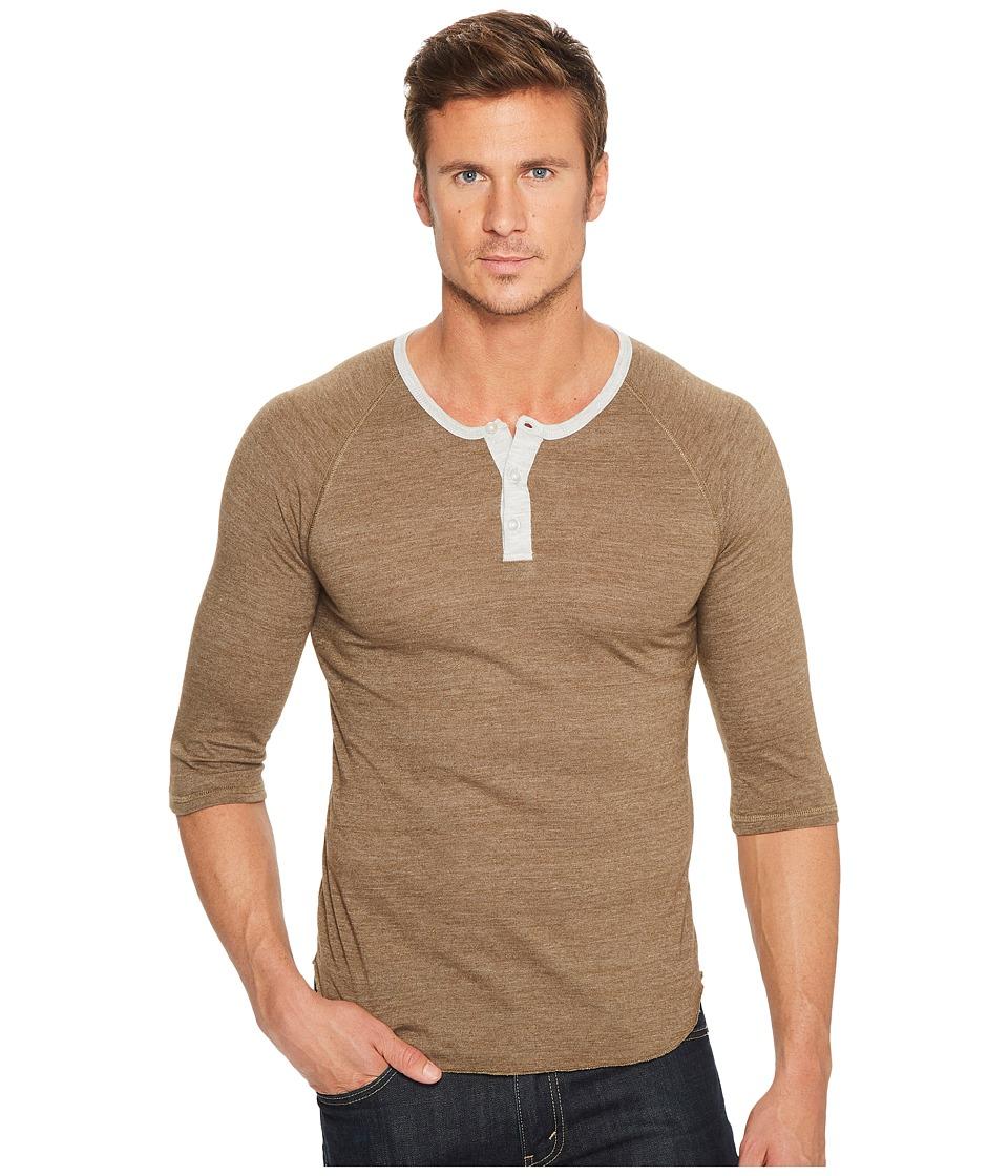 Image of Alternative - 3/4 Raglan Henley (Eco True Dark Olive/Eco Oatmeal) Men's Long Sleeve Pullover