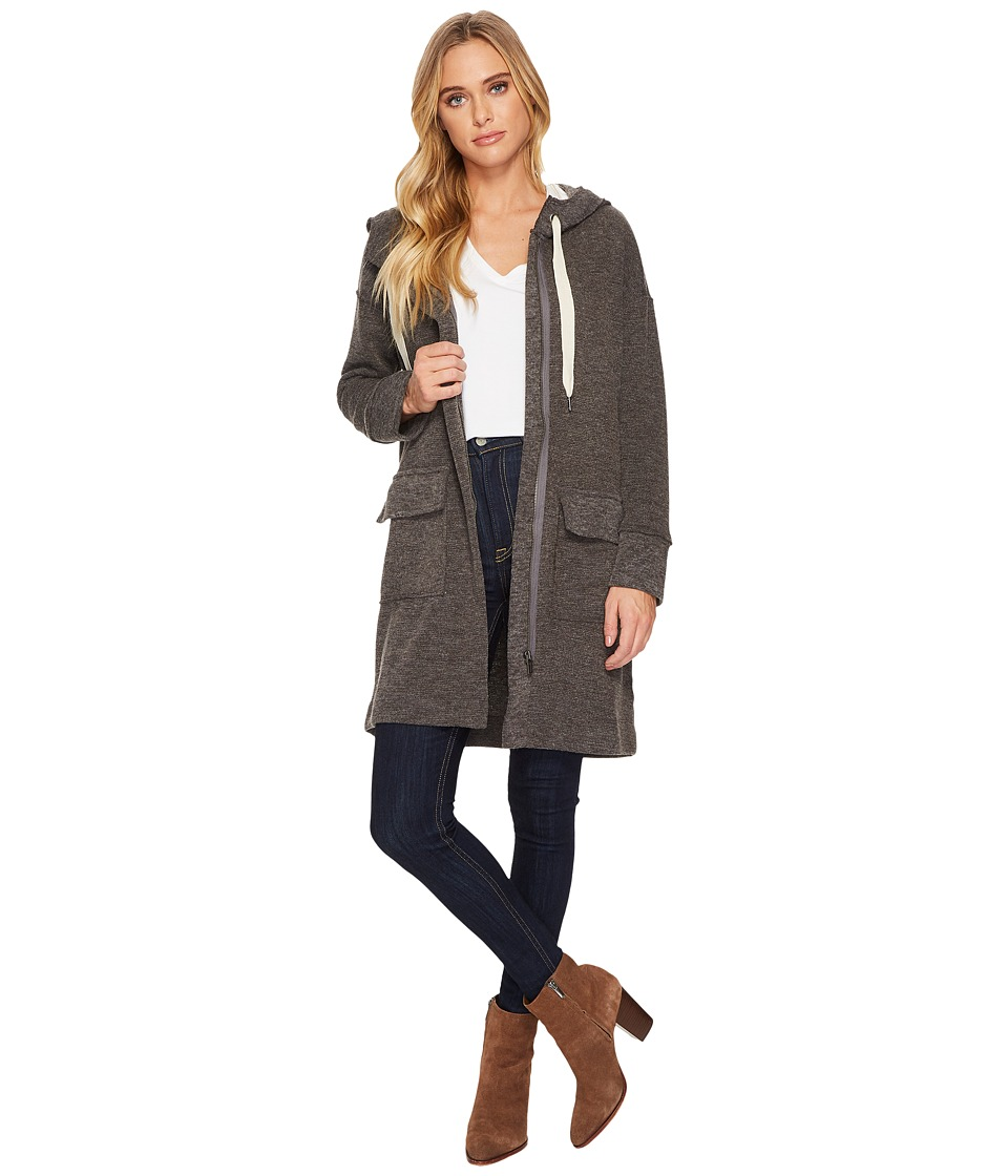 Splendid - Bowery Sweater Knit Jacket Zip Front with Hood and Double Pocket (Charcoal) Women's Coat