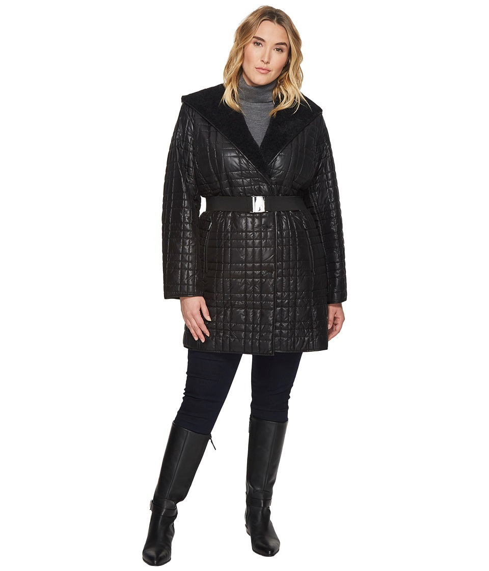 Kenneth Cole New York - Plus Size Sherpa Bonded Quilted/Hooded Robe Coat with Hood and Belt (Black) Women's Coat