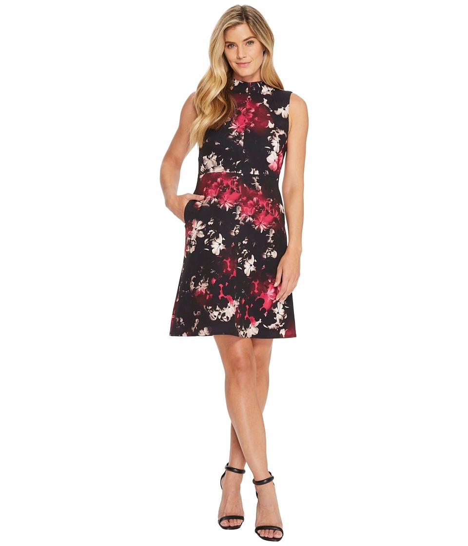 Ellen Tracy Seamed Mock Neck Dress (Bouquet Multi) Women