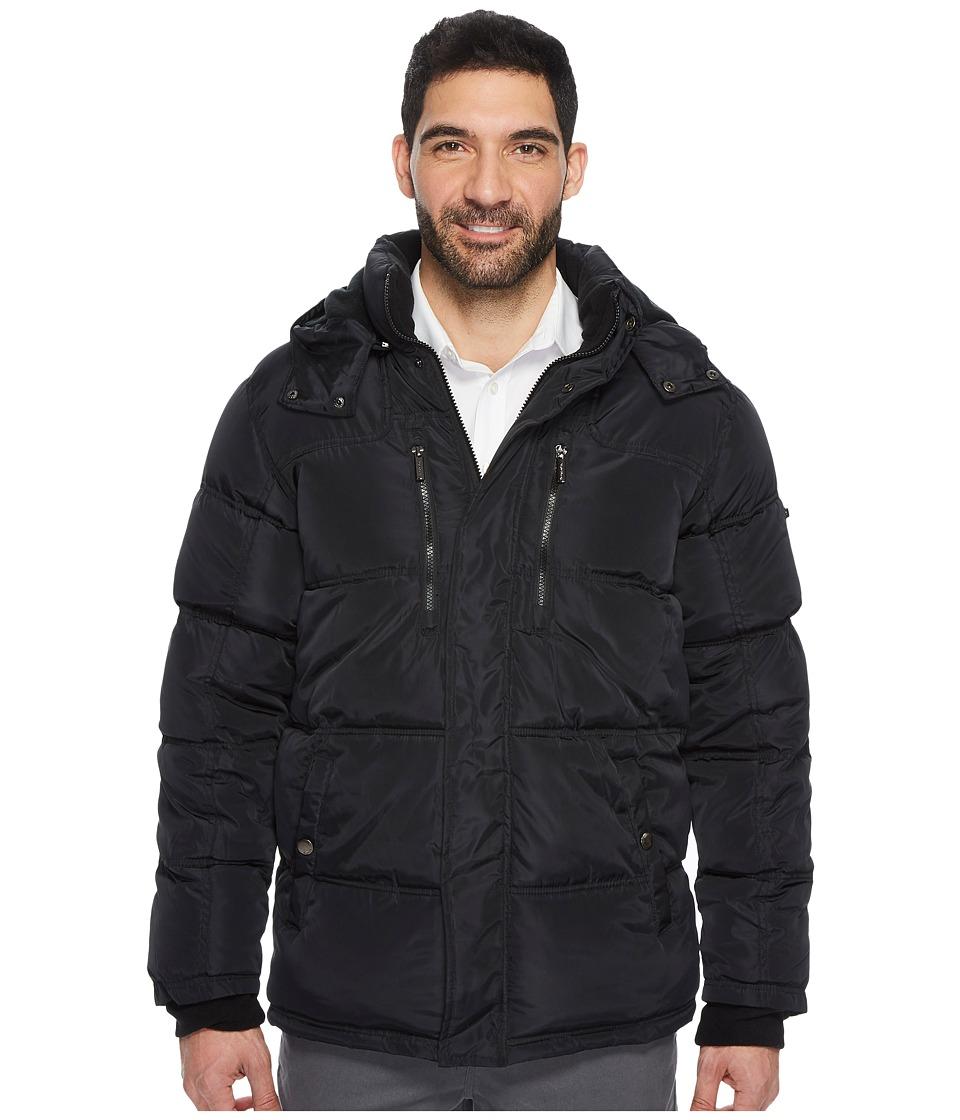 English Laundry - Bubble Jacket with Faux-Fur Trim (Black) Men's Coat