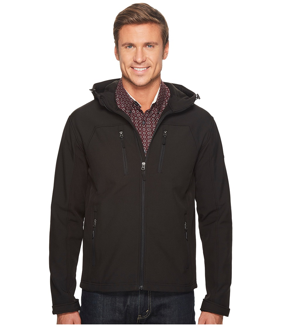 English Laundry - Hooded Softshell Jacket (Black) Men's Coat