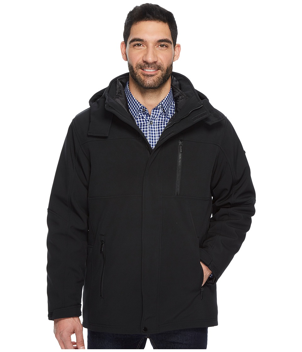 English Laundry - Softshell Systems Jacket with Hood (Black) Men's Coat