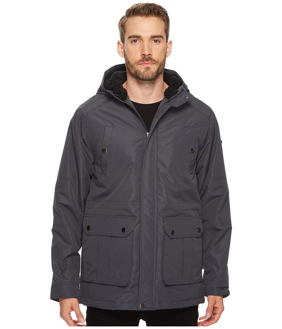 English Laundry - Midweight Parka with Faux Fur Sherpa Lining (Charcoal) Men's Coat