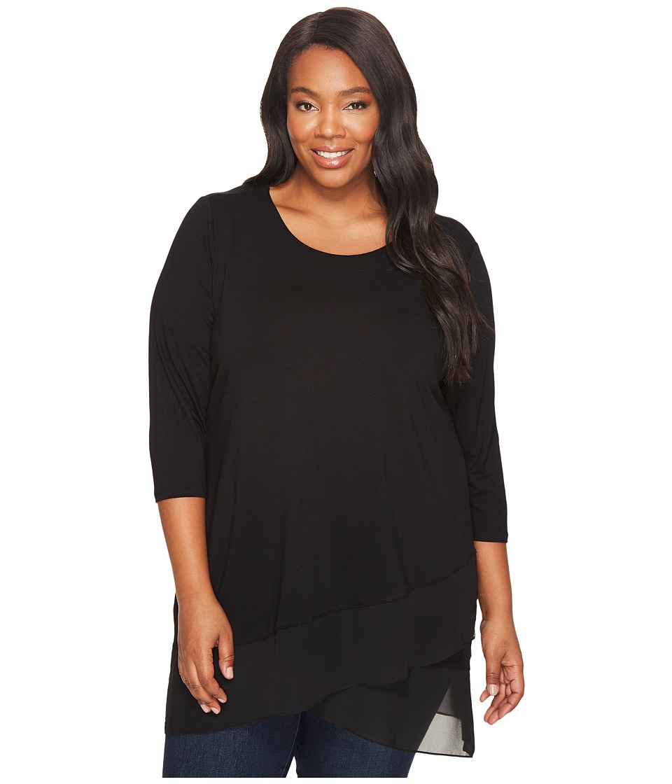 Vince Camuto Specialty Size - Plus Size 3/4 Sleeve Asymmetrical Top (Rich Black) Women's Clothing