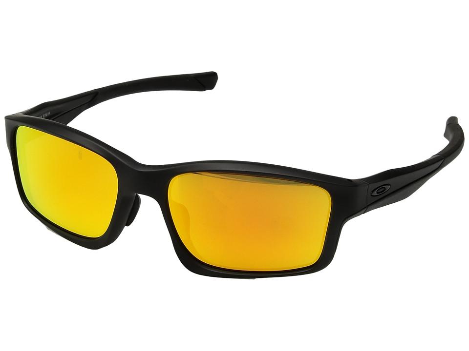 Oakley (A) Chainlink (Matte Black/Fire Iridium) Sport Sunglasses