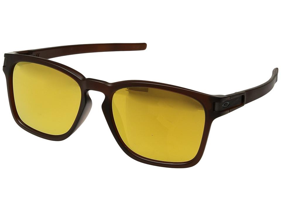 Oakley (A) Latch Squared (Matte Rootbeer/24K Iridium) Sport Sunglasses