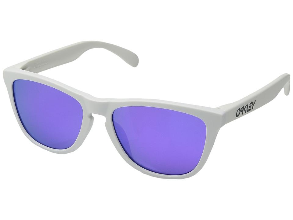 Oakley - (A) Frogskins (Matte White/Violet Iridium) Plastic Frame Fashion Sunglasses