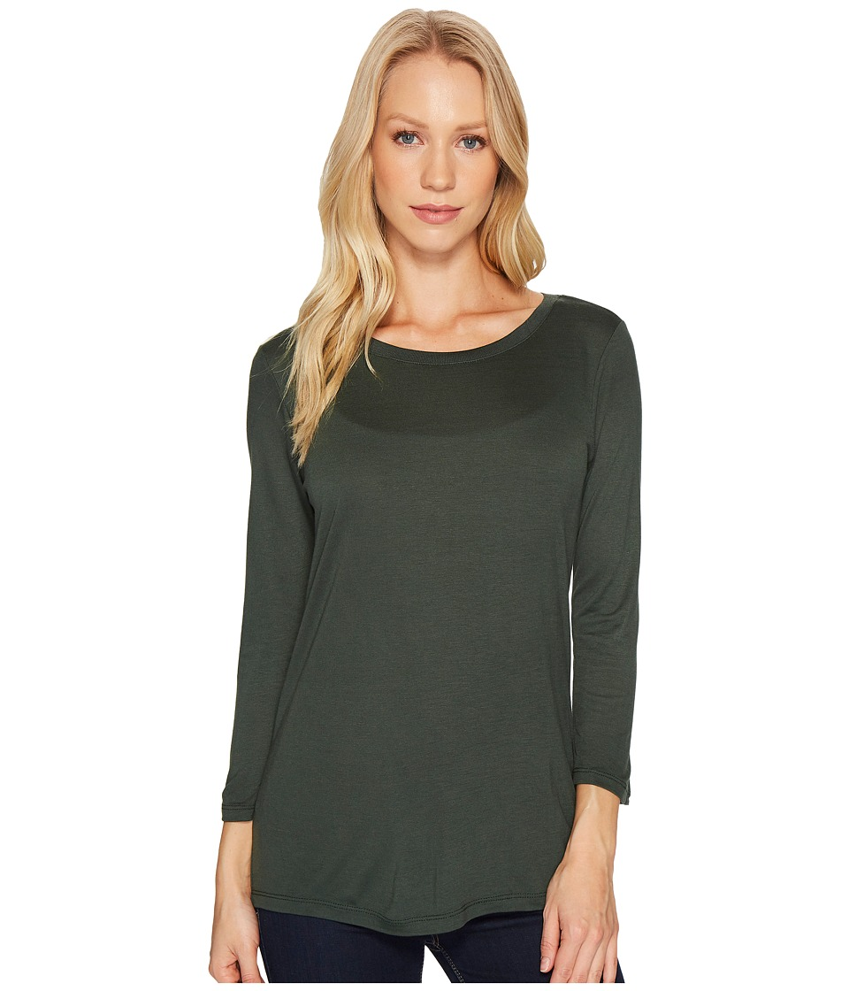 Mavi Jeans - Basic Long Sleeve Crew Neck Top (Green) Women's Clothing
