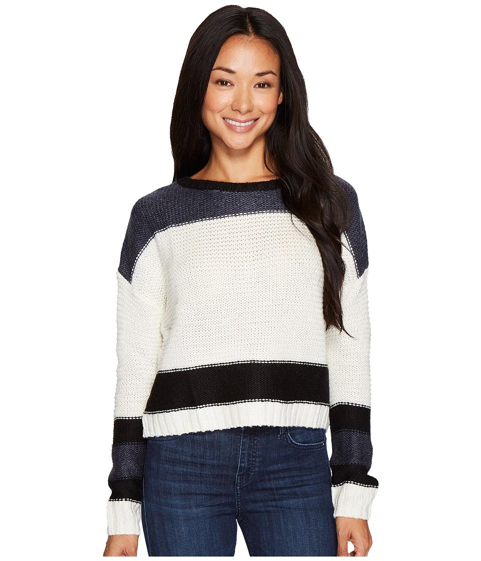 Mavi Jeans Cropped Knit Sweater (White/Black) Women