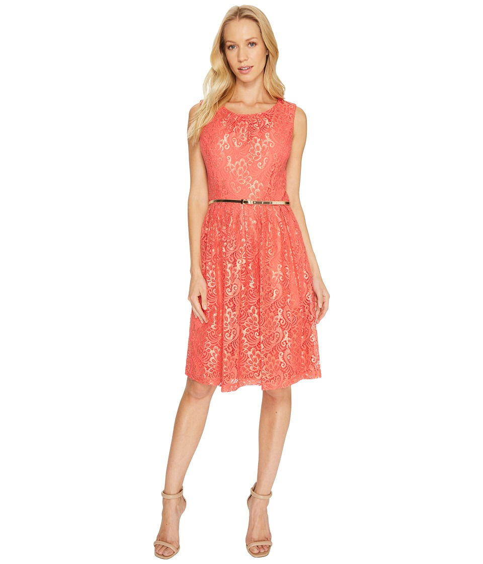Ellen Tracy - Coral Lace Dress (Coral) Women's Dress