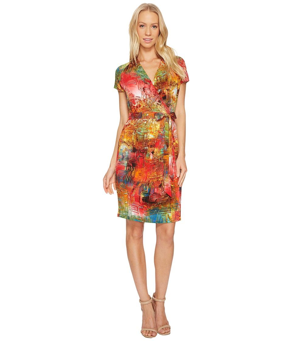 Ellen Tracy Short Sleeve Faux Wrap Multicolor Dress (Red Multi) Women