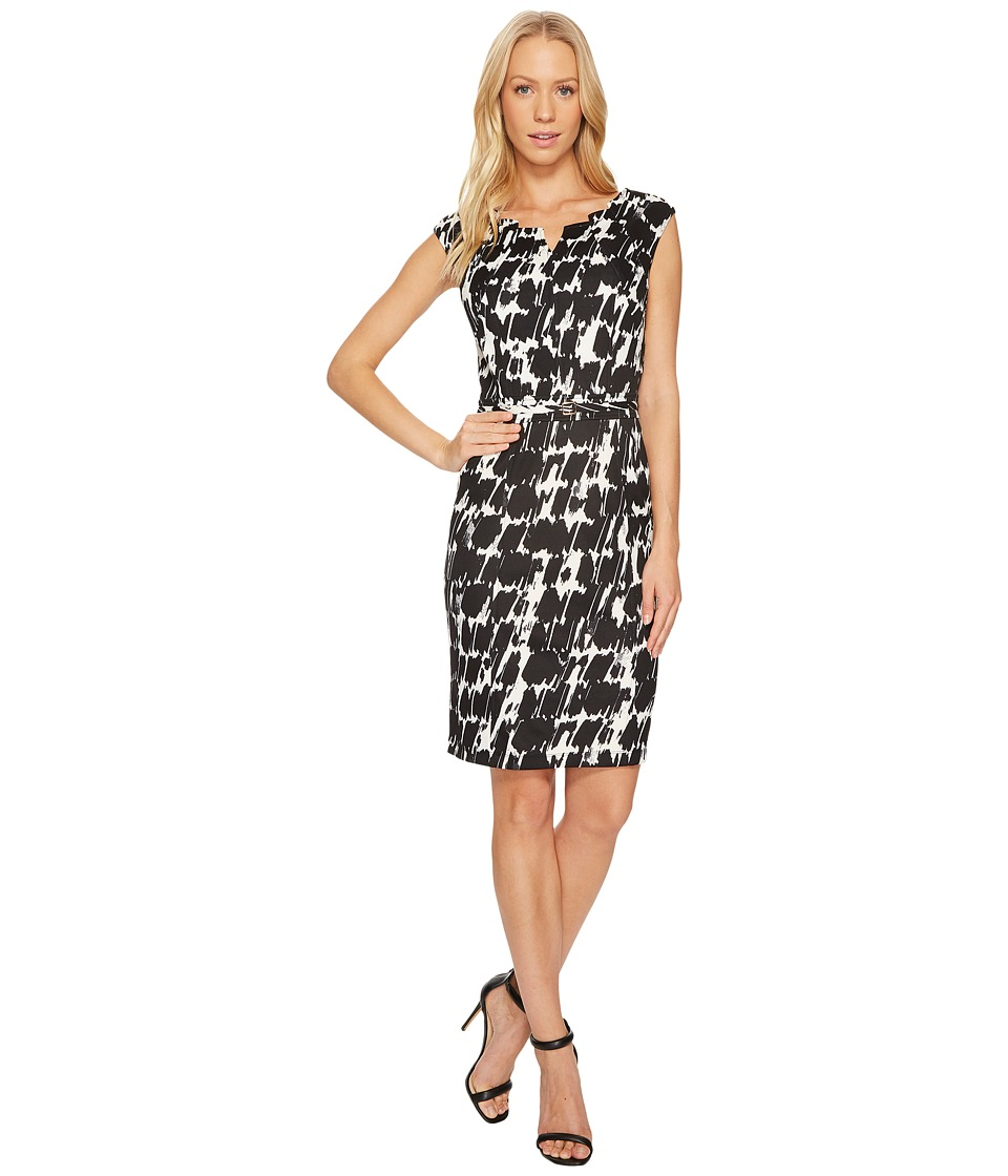 Ellen Tracy - Black and White Printed Sheath Dress (Black/Ivory) Women's Dress