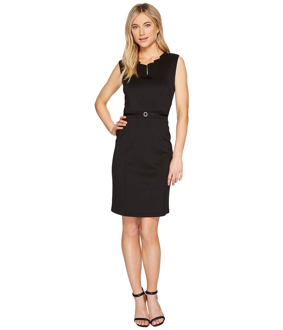 Ellen Tracy - Black Dress with Unique Neckline (Black) Women's Dress
