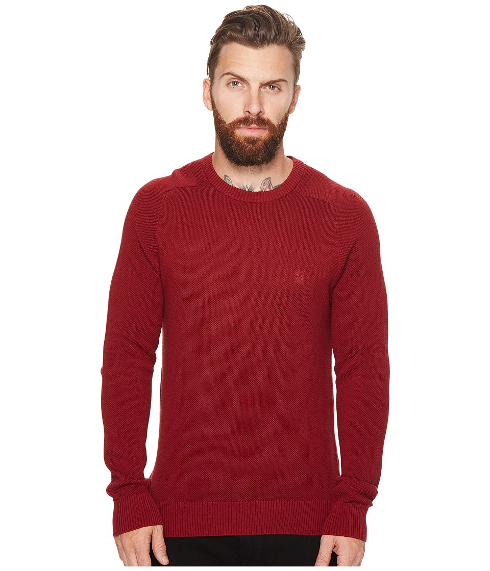 Original Penguin - Long Sleeve Honeycomb Pique (Pomegranate) Men's Sweater