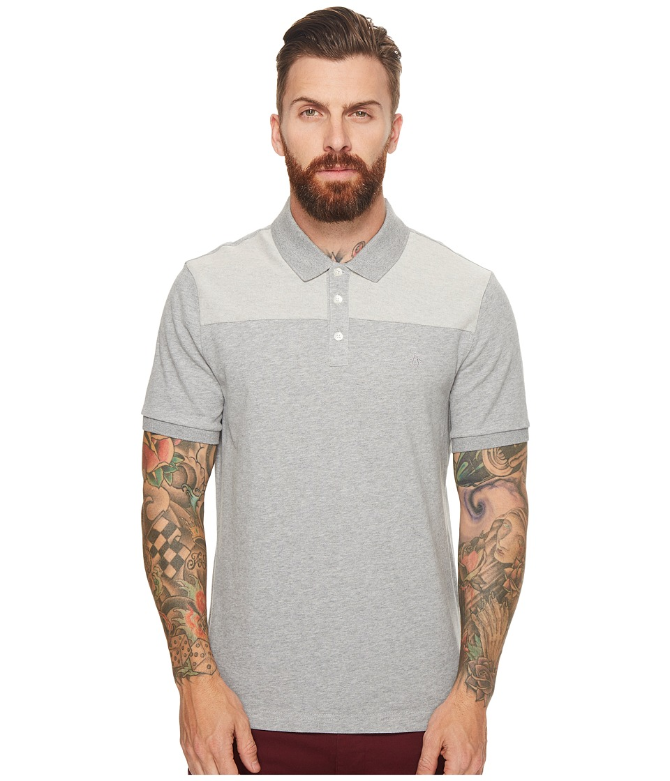 Original Penguin - Short Sleeve Sueded Pieced Polo (Athletic Grey Heather) Men's Short Sleeve Pullover