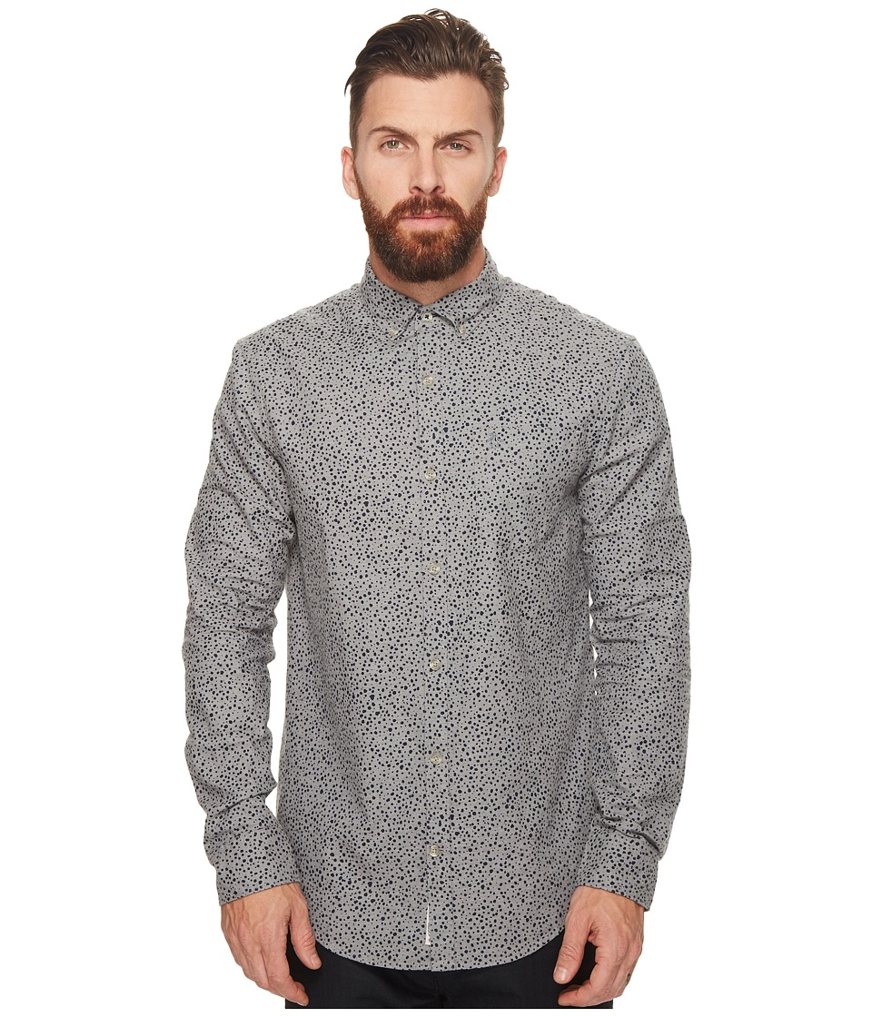 Original Penguin - Long Sleeve Drop Printed Heather (Rain Heather) Men's Long Sleeve Button Up