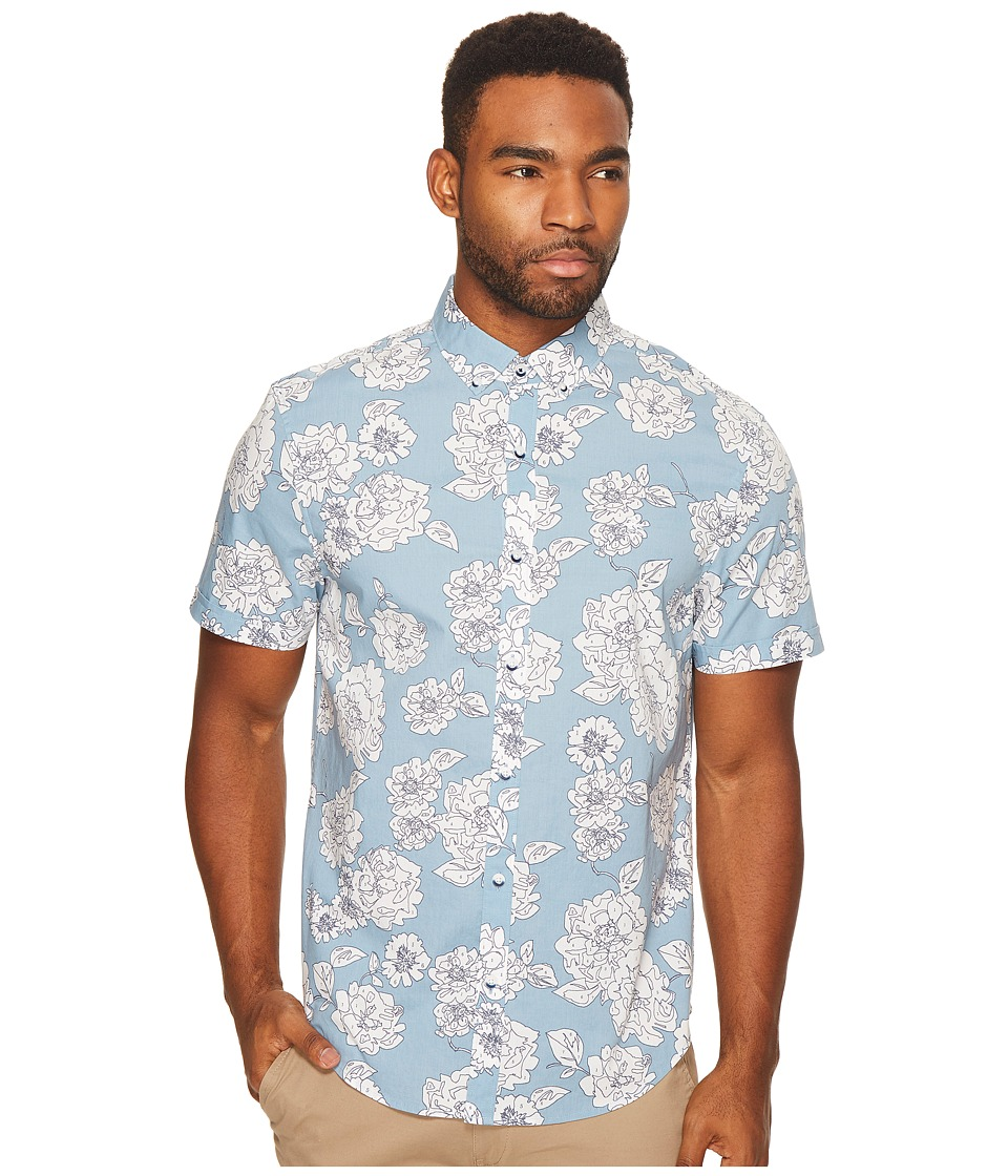 Original Penguin - Short Sleeve Color by Numbers (Faded Denim) Men's Short Sleeve Button Up