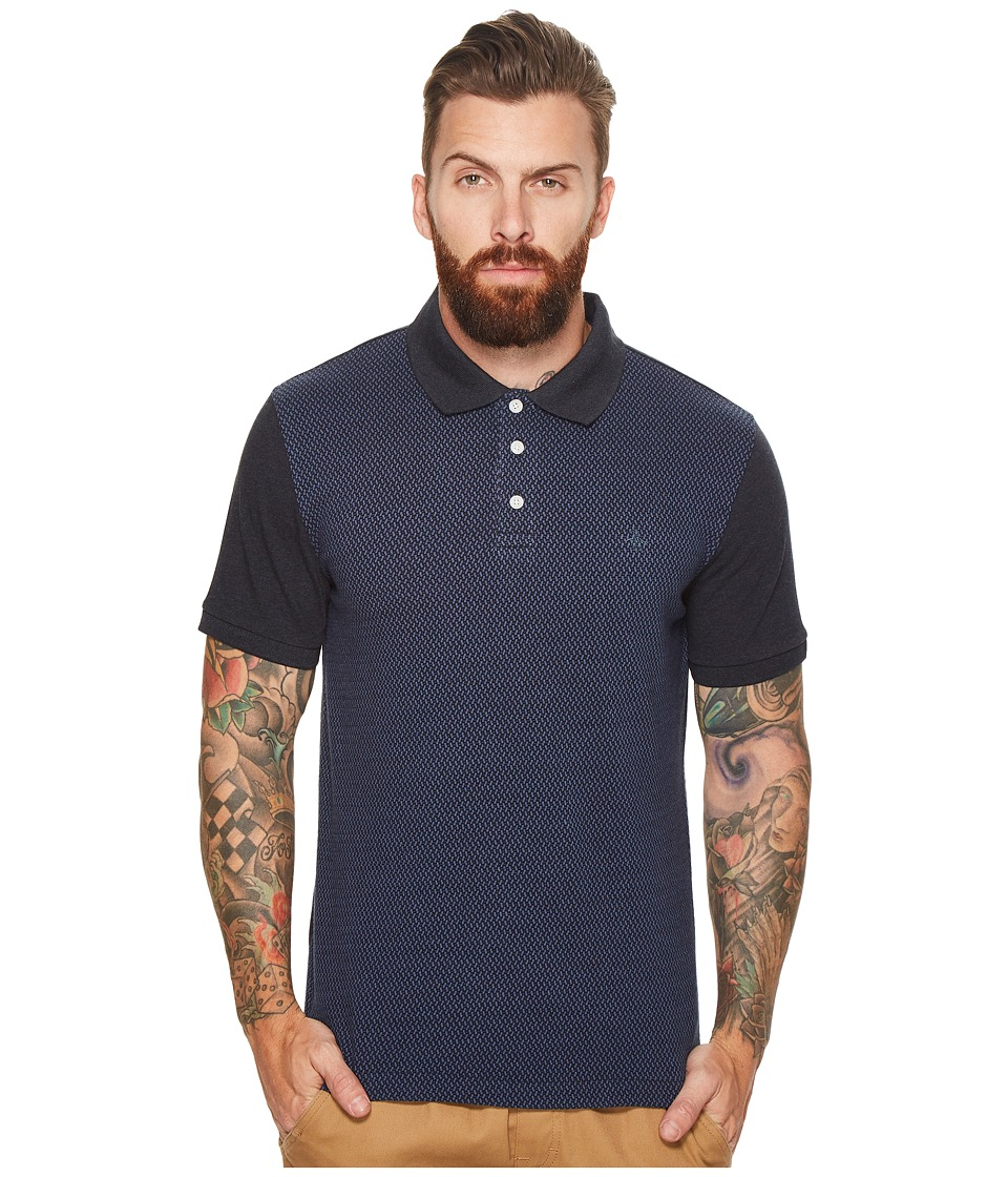 Original Penguin - Short Sleeve Jacquard Front Polo (Dark Sapphire) Men's Short Sleeve Pullover
