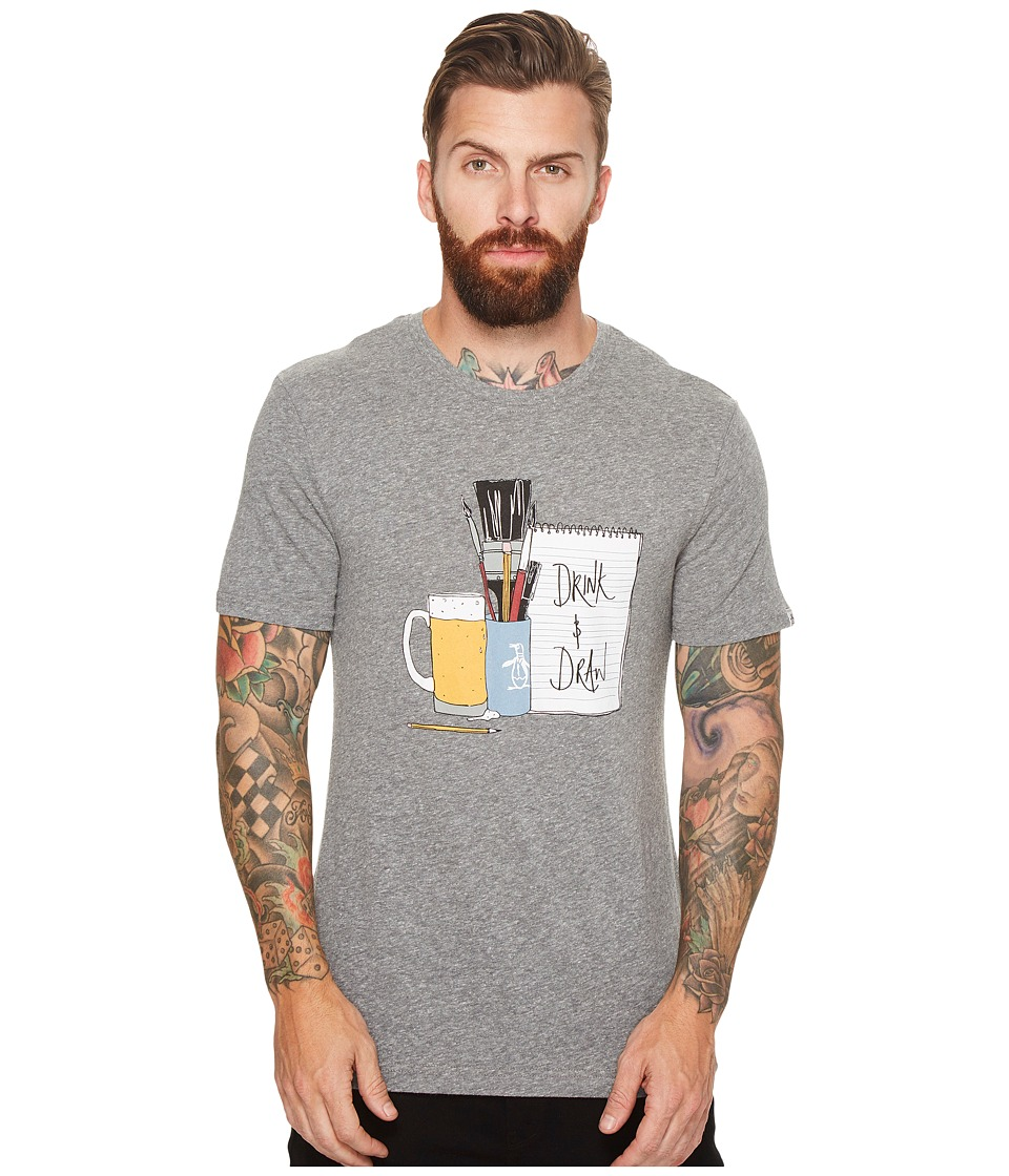 Original Penguin Short Sleeve Drink and Draw Tee (Athletic Grey Heather) Men