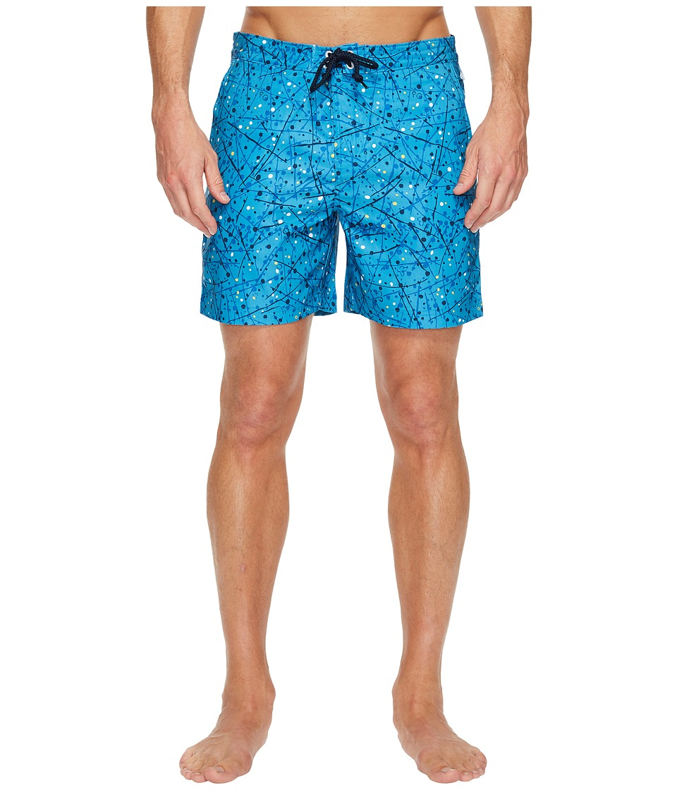 Original Penguin - Splatter Paint Fixed Swim Short (Snorkel Blue) Men's Swimwear