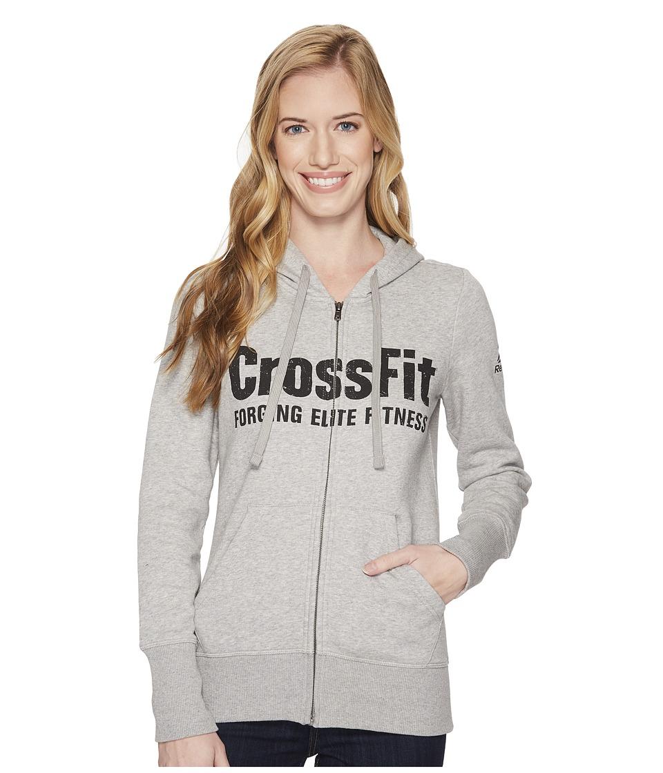 Reebok CrossFit Full Zip Hoodie (Medium Grey Heather) Women