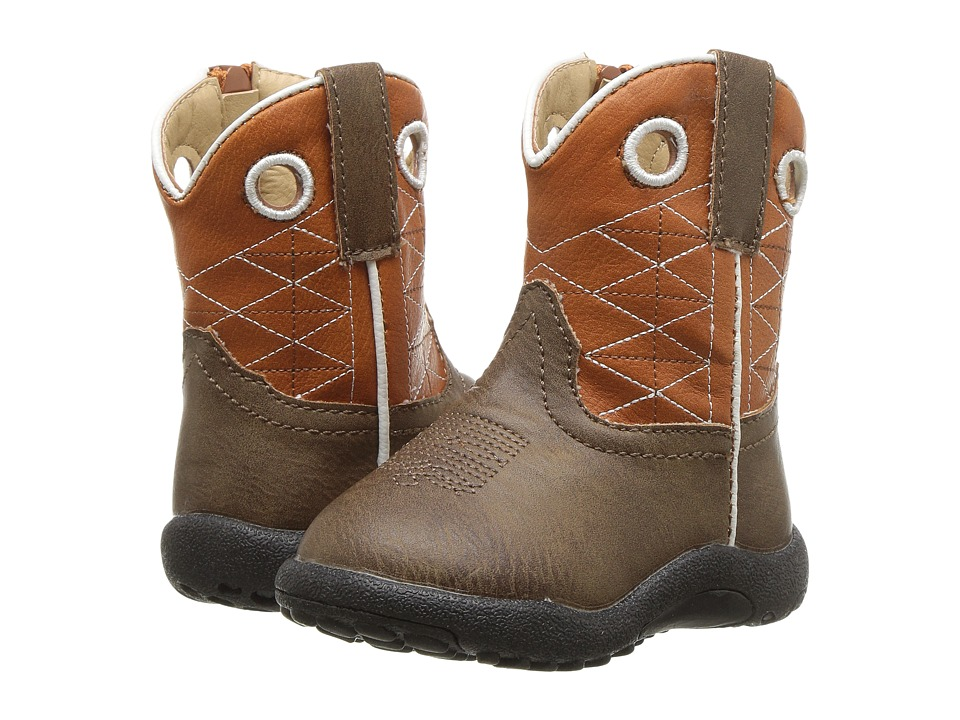 Roper Kids Boone (Infant/Toddler) (Brown Faux Leather Vamp/Orange Shaft) Cowboy Boots