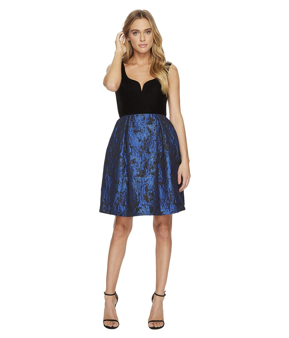 Donna Morgan Sleeveless Fit and Flare with Velvet Top and Brocade Skirt (Black/Cobalt) Women