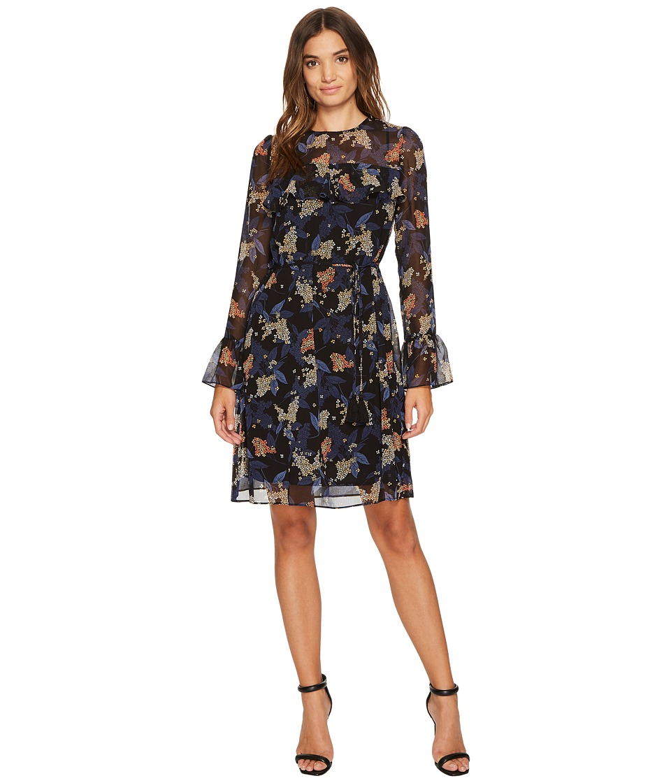 Donna Morgan - Noelle Long Sleeve Chiffon Dress with Ruffle at Yoke and Sleeves (Black/Workwear Multi) Women's Dress