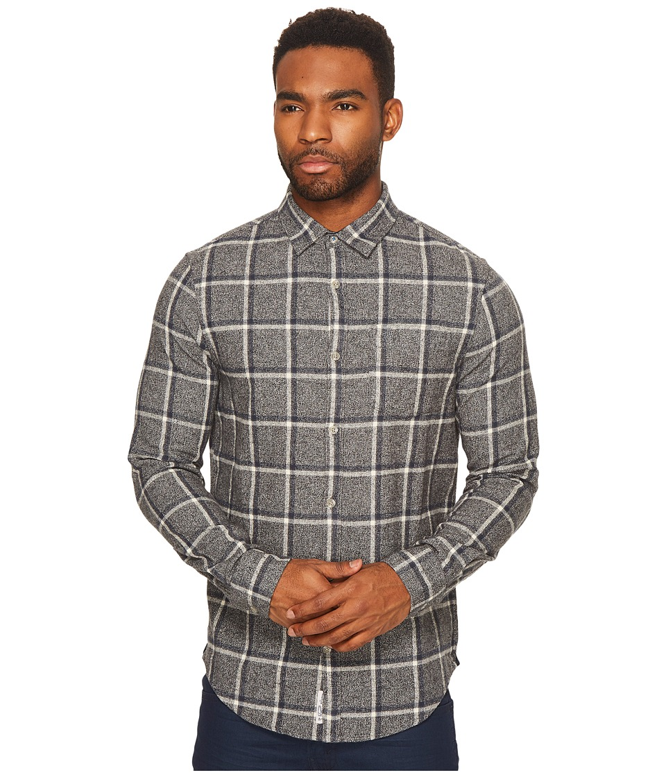 Original Penguin - Long Sleeve Jaspe Brushed Flannel Plaid Heritage (Steel Gray) Men's Long Sleeve Button Up