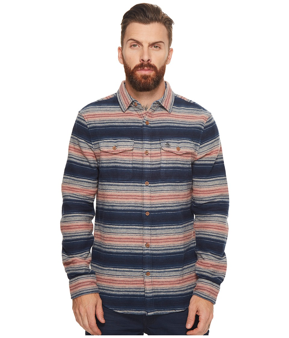 Original Penguin - Long Sleeve Striped Brushed Flannel Heritage (Dark Sapphire) Men's Long Sleeve Button Up