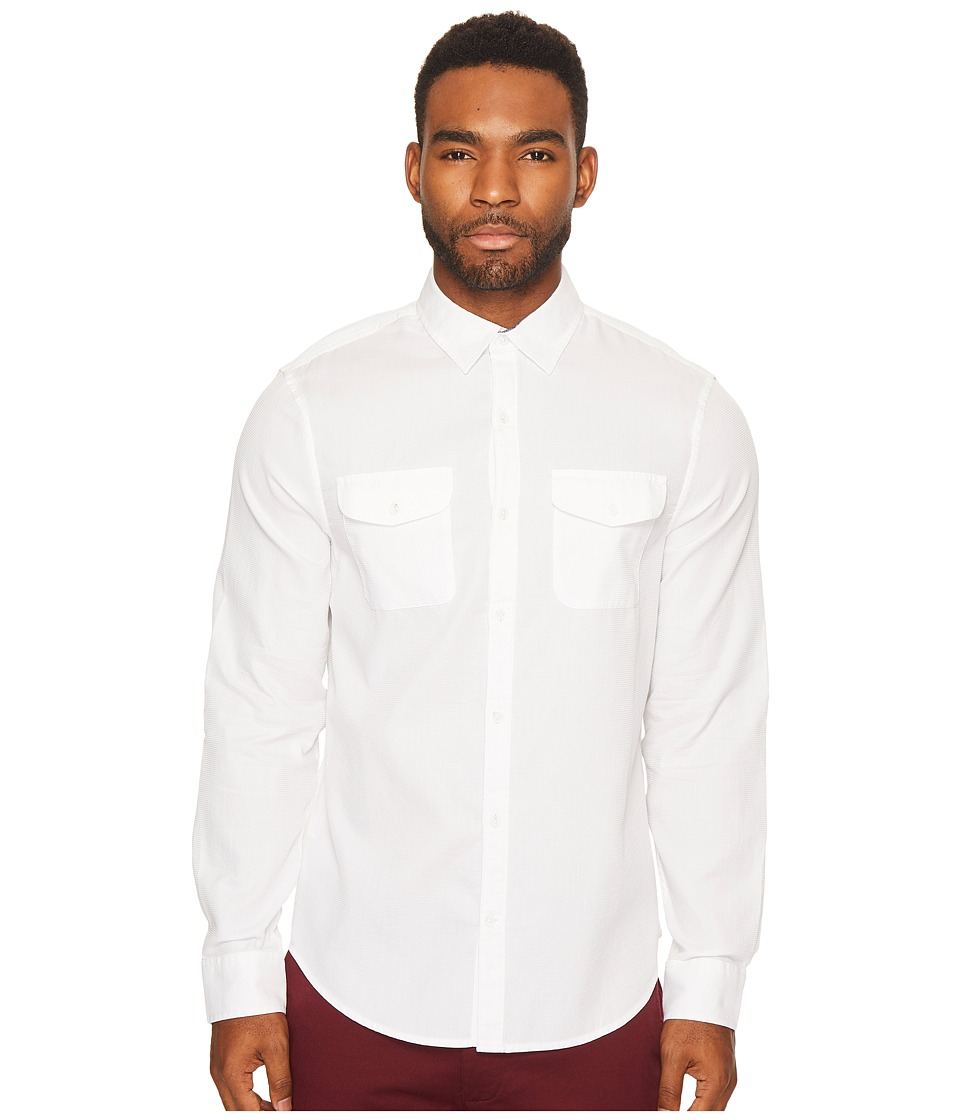 Original Penguin - Long Sleeve Waffle Cotton Dobby (Bright White) Men's Long Sleeve Button Up