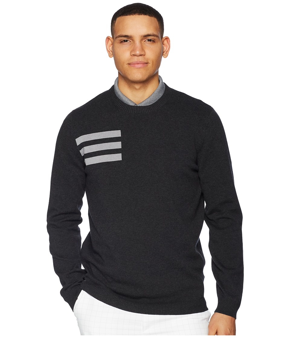 adidas Golf 3-Stripes Crew Neck Sweater (Black Melange) Men