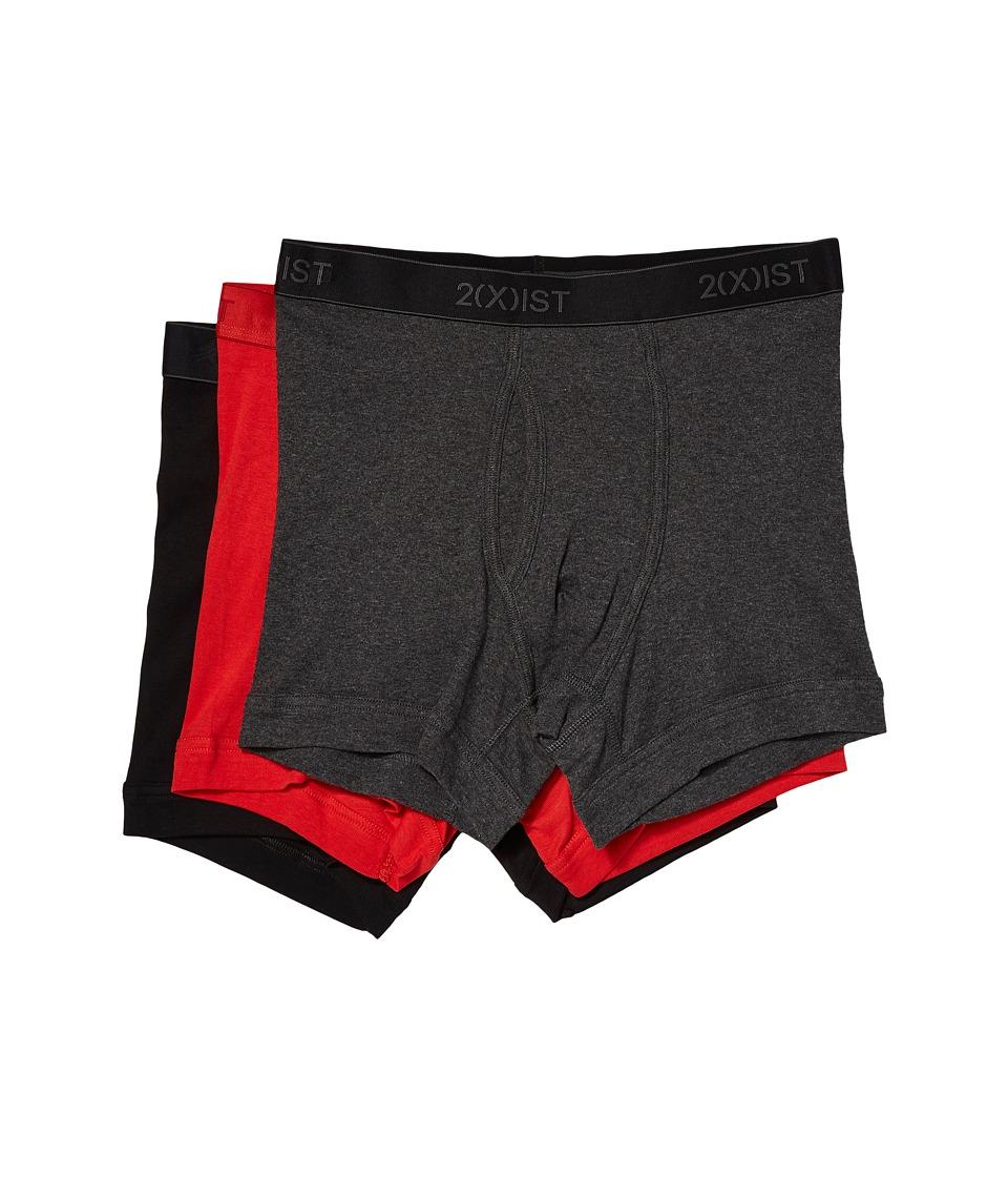 Image of 2(X)IST - 3-Pack ESSENTIAL Boxer Briefs (Black/Charcoal Heather/Red) Men's Underwear