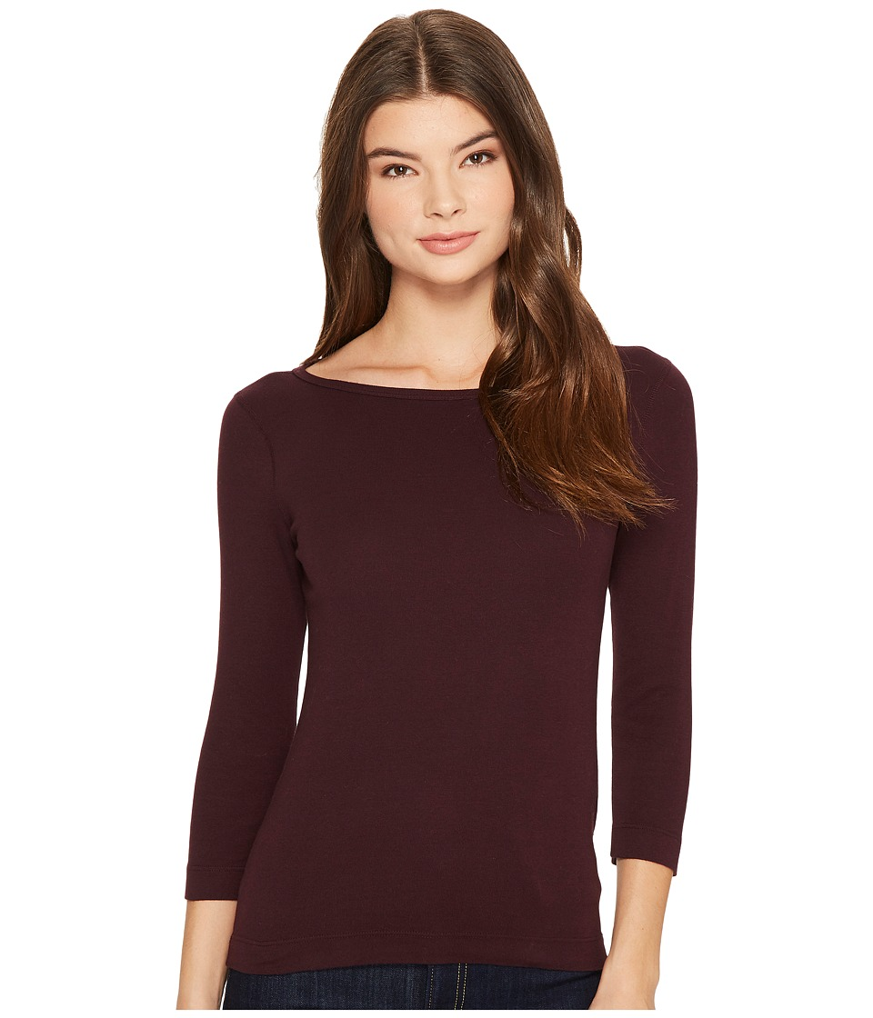 Three Dots - 3/4 Sleeve British Tee (Aubergine) Women's Long Sleeve Pullover