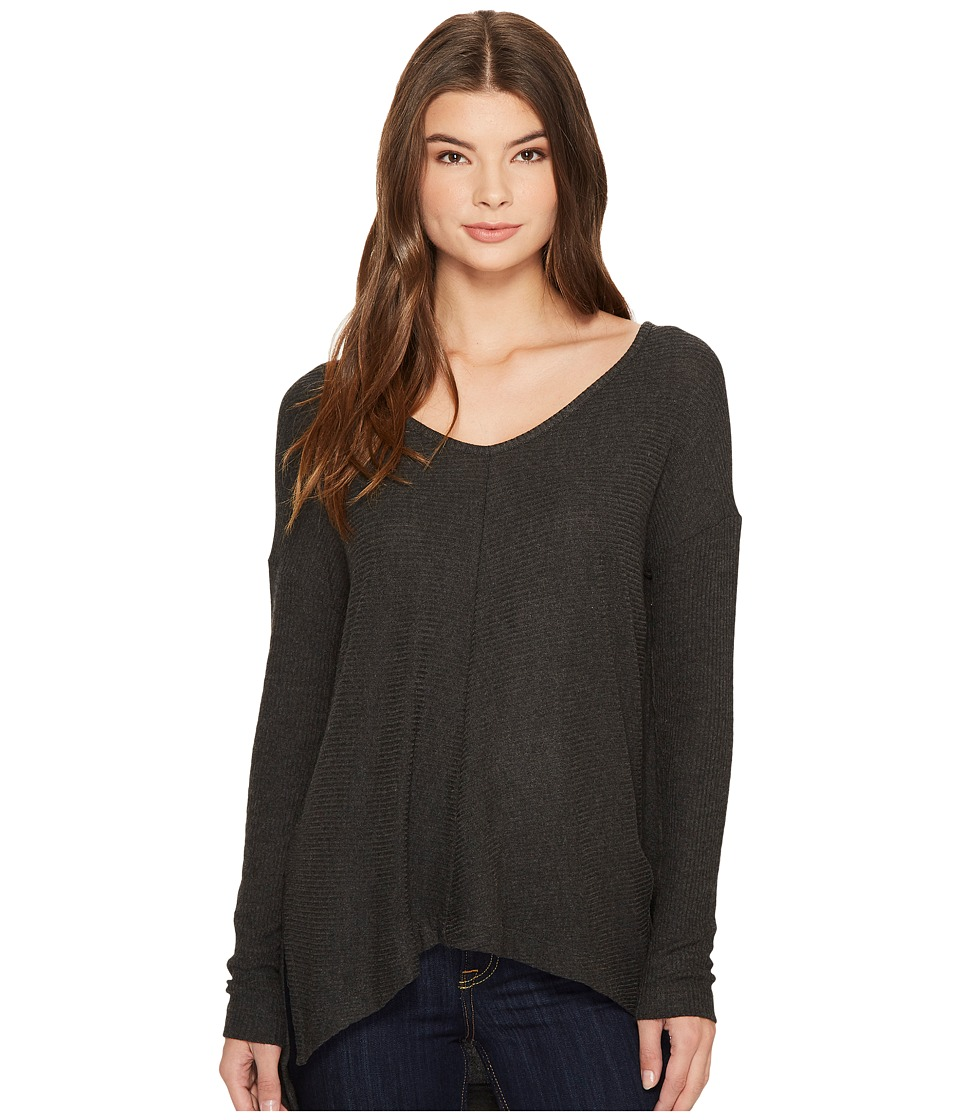 Three Dots Brushed Sweater Rib High-Low Top (Charcoal) Women