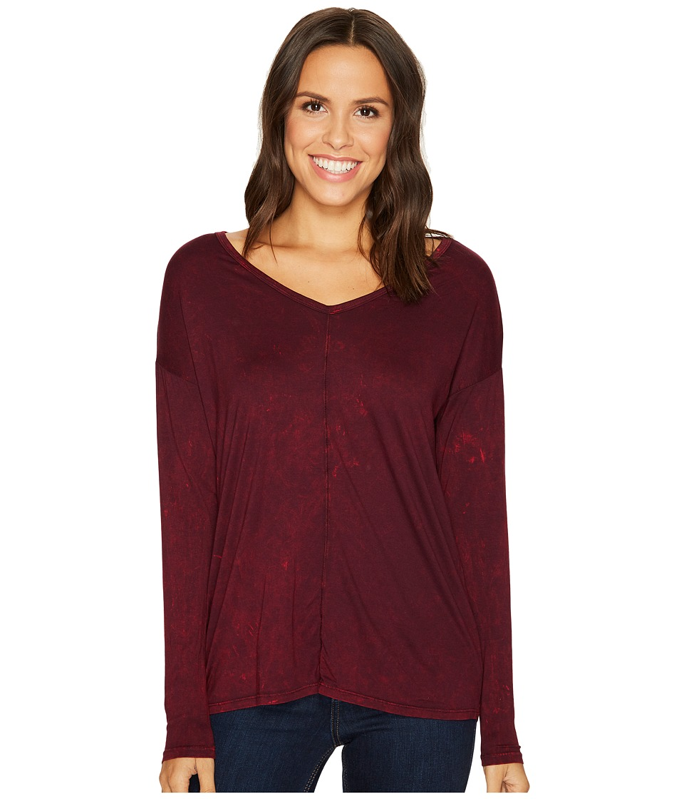 Three Dots Refine Jersey Rocker Wash Drop Sleeve V-Neck Top (Aubergine) Women's Short Sleeve Pullover