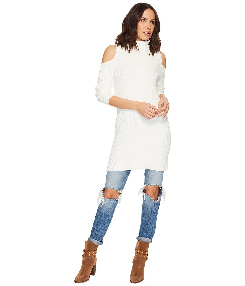 kensie Cotton Blend Cold Shoulder Sweater Dress KS1U7069 (Snow) Women